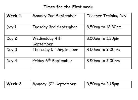 Times of sessions in the first week of school September 3rd 2019